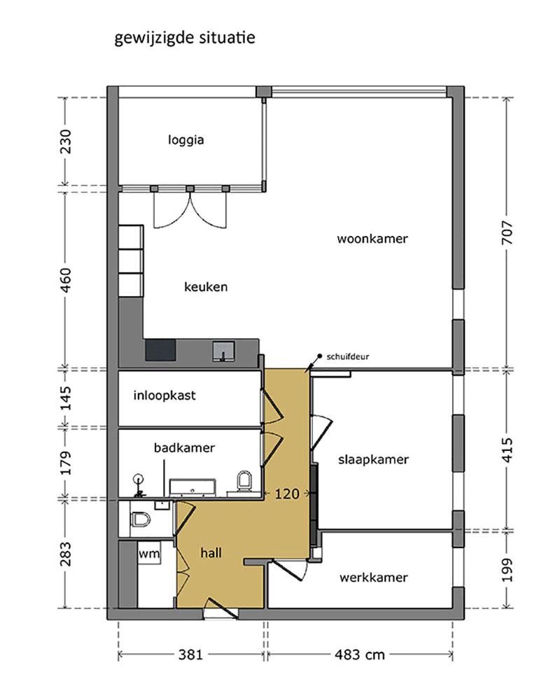 plattegrond van appartement aangepast op leeftijdbestendig wonen