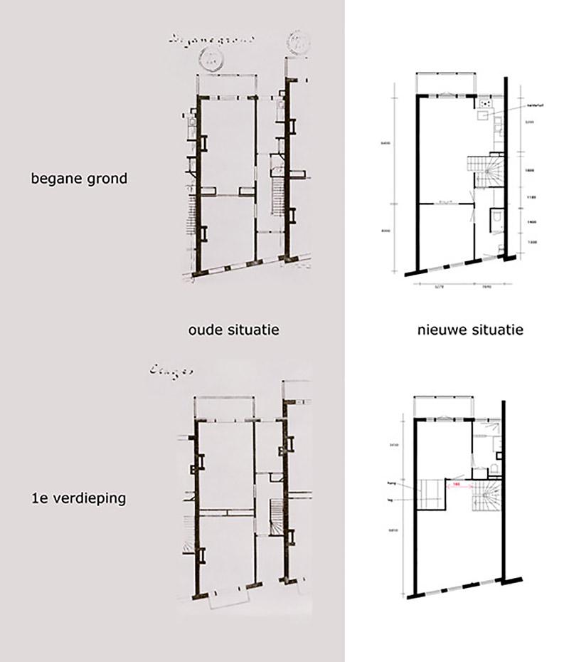 plattegrond voor en na renovatie eengezinswoning
