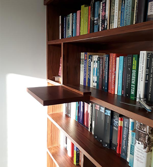 detail van boekenkastontwerp voor de renovatie van een appartement