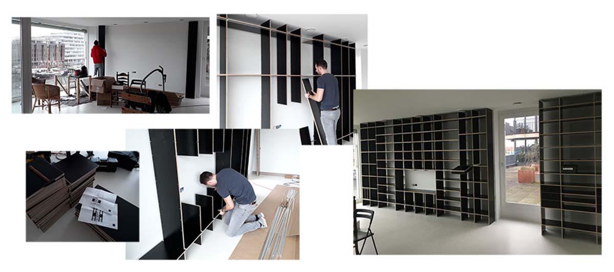 verhuizen van groot naar klein met een boekenkast die past in het interieurontwerp