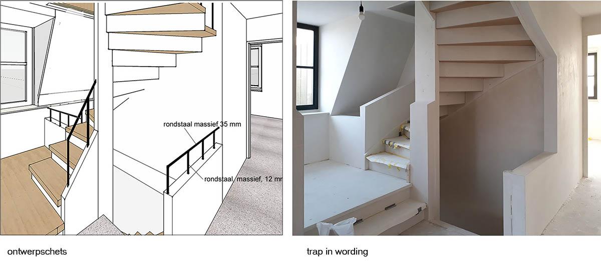 ontwerptekening van een trap en afbeelding van de trap in wording